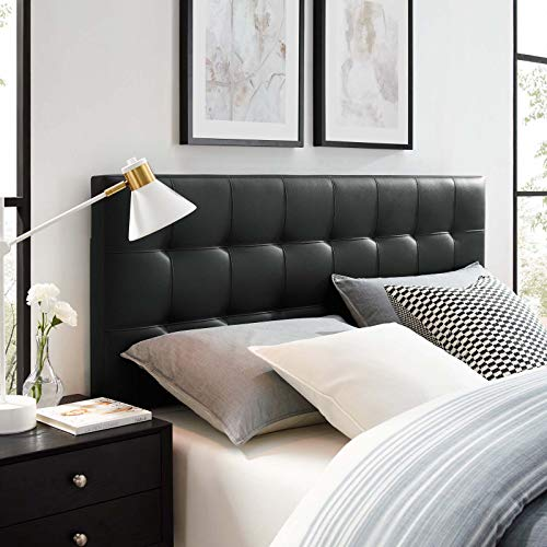Modway Lily Tufted Faux Leather Upholstered King Headboard in Black (Headboards Beds For King Leather)