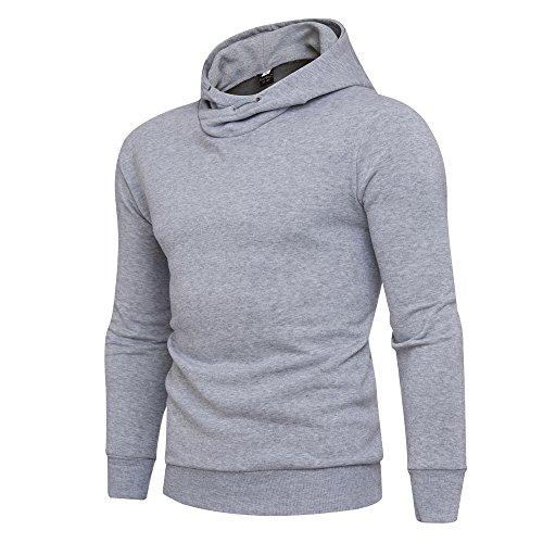 Mens Jacket Godathe Mens' Winter Solid Hoodie Hooded Pullover Sweatshirt Coat Jacket Outwear S-XXL