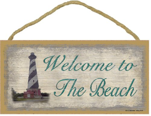 [Welcome to the Beach Sign with Lighthouse Plaque Nautical Decor 5