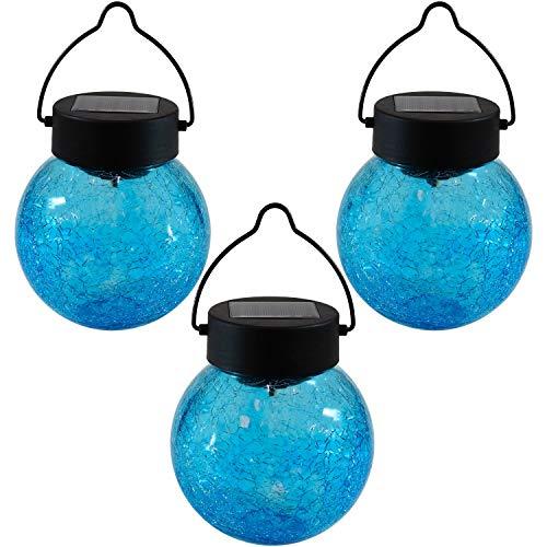- Sunnydaze Solar LED Lantern Round Garden Light with Blue Crackled Glass, Set of 3