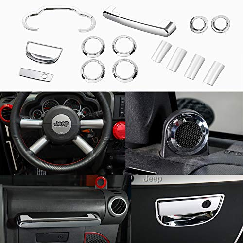 Chrome Interior Kit - YOCTM 14 Pieces Interior Accessories Chrome ABS Interior Steering Wheel Dashboard Air Outlet Vent Speaker Frame Sticker Decor Jeep Wrangler 2007-2010 Car Styling