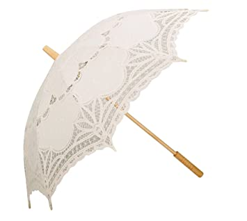 5a46dbb715fff Coofit Ombrelle mariage en coton avec dentelles parasol parapluie  décoration de mariage mariée parapluie Fait à