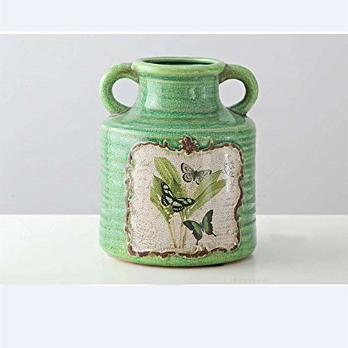 (LXYFMS Green Double Ceramic Colored Glazed Vase with American Oil Painting Crafts (Color : S))