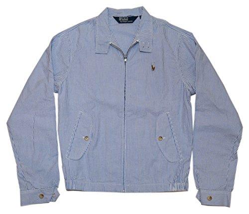 - Ralph Lauren Polo Mens Windbreaker Seersucker Strip Blue Navy Jacket Coat Large