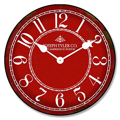 Red & White Wall Clock, Available in 8 Sizes, Most Sizes Ship 2-3 Days, Whisper Quiet. Review