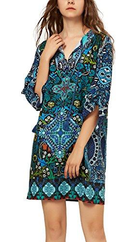 Les Femmes De Coco Urbain Vintage Cravate Bohème Motif Imprimé Robe De Quart De Travail D'été De Style Ethnique 12