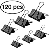 LOYMR 120 PCS Binder Clips Paper Binder Assorted 6 Sizes Can Meet Different Needs to Securely Fastens Stacks of Paper (Black)