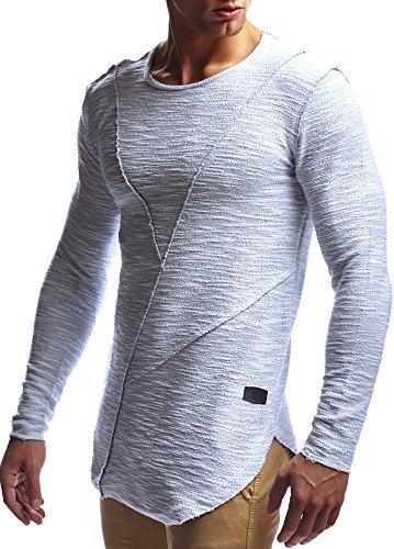 Leif Nelson Men's Oversized Long Sleeve T-Shirt Sweatshirt LN6323; Size S, Grey