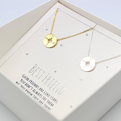 compass necklace, Best friend necklace for 2, BFF Necklace, friendship necklace for 2, silver dainty necklace, Christmas gift, Graduation gifts