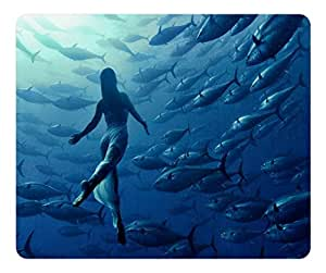 Brain114 Customized Mouse Pad Oblong Dance With Fishes Personalized Mousepad Non-Slip Gaming Mouse Pads