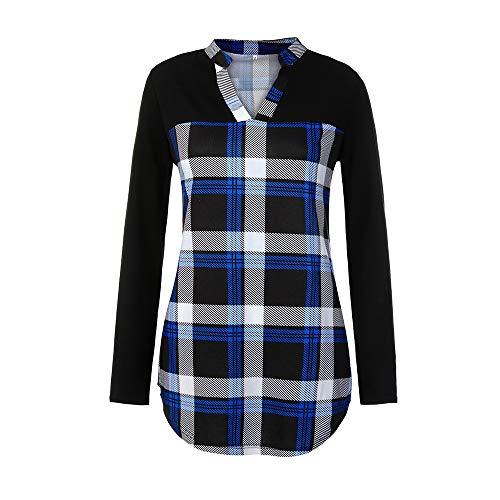 V-Neck Color Plaid Lattice Splicing Long sleeves Top Shirt Easy Blouse(Blue,XXXL) ()
