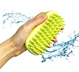 Dasksha Dog Bath Brush – Best Pet Bathing Tool Dogs Cats – Rubber Grooming Brush Pet Shampoo Brush Grooming – Soft Silicone Bristles Give Pet Gentle Massage