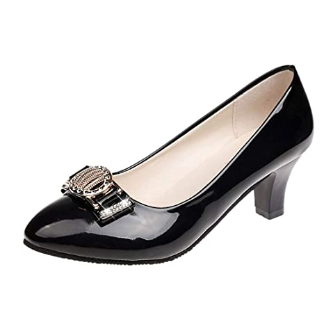 8b5855844b55d Women Casual Round Toe Crystal Shallow Med Heels Party Shoes Work Pumps  Shoes Low Heeled
