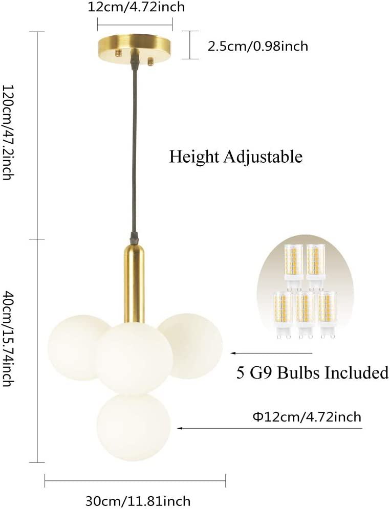 BAODEN 4 Lights Modern Globe Pendant Light Fixture Mid Century Chandelier with G9 Bulb Brushed Brass Finished with White Globe Glass Lampshade Dining Kitchen Living Room Bedroom Lighting Gold