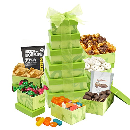 Broadway Basketeer's Luscious Lime Candy & Chocolate Gift Basket Gift Tower - 6 Fun Tower Gift Boxes