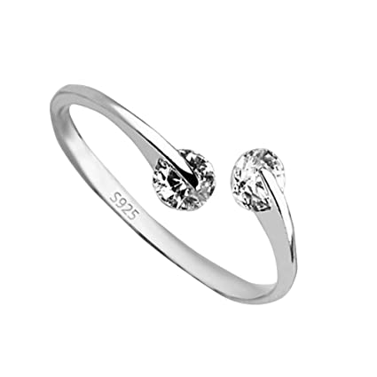 DHOUTDOORS Thumb Wrap Ring Adjustable 925 Sterling Silver Plated Twin Cubic  Zirconia Ring Open