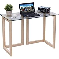 Tangkula Computer Desk Home Office 44 Glass Top Accent Table Writing Table