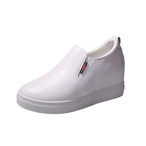 Pisos De Mujer Aumento De La Altura Mocasines Zapatos OtoñO Mujer Punta Redonda Costura Slip-On Calzado Casual: Amazon.es: Zapatos y complementos