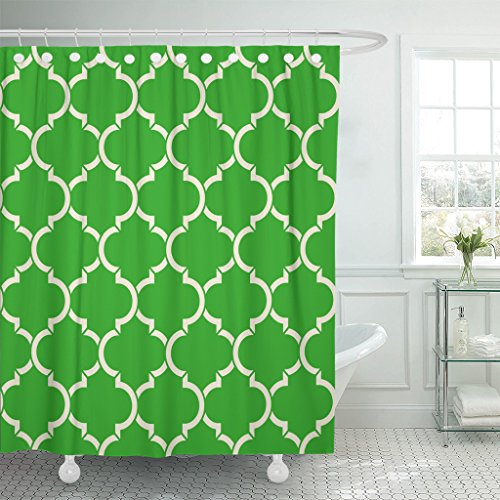 TOMPOP Shower Curtain Abstract Light Green Quatrefoil Patter