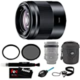 Sony E 50mm f/1.8 OSS Lens (Black) with Lens Case and Accessory Bundle