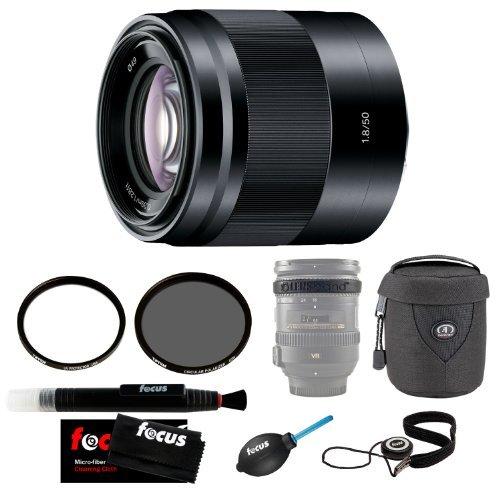 Sony SEL50F18 SEL50F18/B 50mm f/1.8 Lens with Tiffen 49mm UV Protector and 49mm Circular Polarizer Polarizing Lens Filter + Accessories