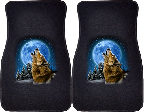 Wolf Car Mats - Wolf and Moon (Black) Car and Truck Front Mats - Set of 2