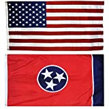 Cheap US Flag with Tennessee State Flag 3 x 5 – 100% American Made – Nylon