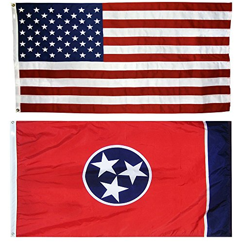 US Flag with Tennessee State Flag 5' X 8' - 100% American Made - Nylon