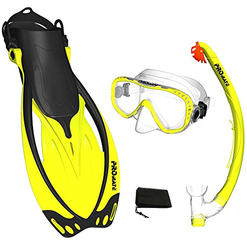 Yellow, SM, scs0003, PROMATE Snorkeling Mask Fins DRY Snorkel Set Gear Bag