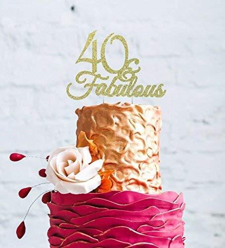 Adorno para tarta de 40º cumpleaños, con texto «40 ...
