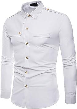 Sunnyuk Camisas De Vestir para Hombre Slim Fit Color Sólido ...