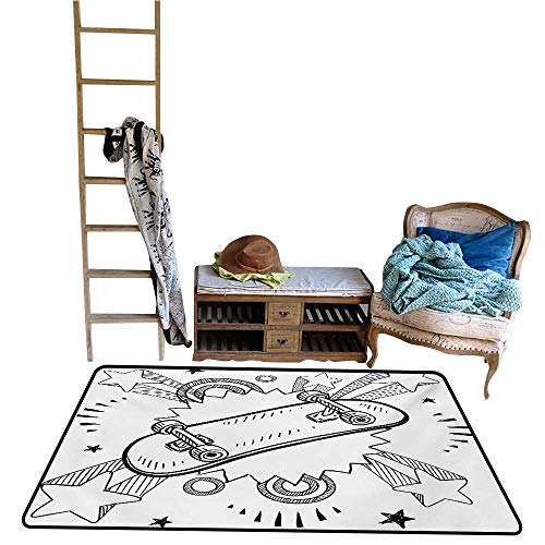 Home Bedroom Carpet Floor Mat Doodle,Sketch of a Skateboard with Sixties and Seventies Style Pop Art Inspired Background,Black White.jpg 36
