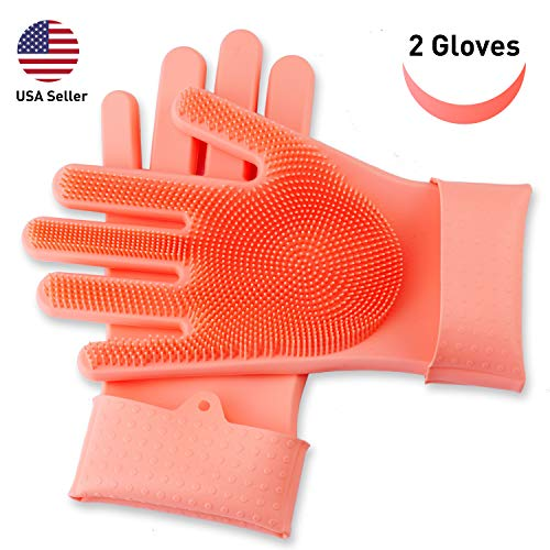 SolidScrub | magic silicone gloves scrubbing gloves for dishes, dishwashing gloves with scrubbers, dish gloves for kitchen, car wash, and pet care | 1 pair, 2 gloves - Coral Magic