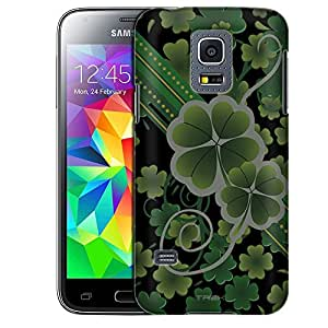 Samsung Galaxy S5 Mini Case, Slim Fit Snap On Cover by Trek Lucky Clovers on Black Case