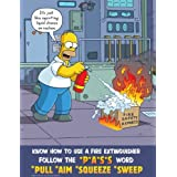 Know How To Use A Fire Extinguisher Use The PASS Word - Simpsons Fire Safety Poster