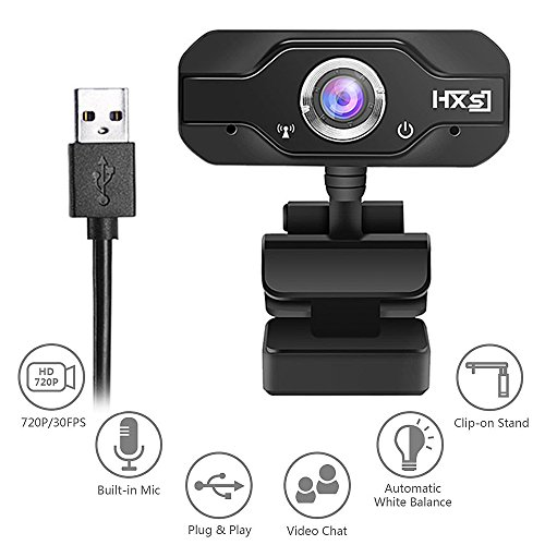 HD USB Webcam 720p Mini USB Computer Camera with Built-in Noise Cancelling Microphone, Widescreen Video Calling for Desktop / Laptop Webcam Flexible and Portable External Web Camera