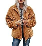 BTFBM Women Long Sleeve Full Zip Jackets Casual Solid Color Loose Soft Fleece Fuzzy Short Teddy C...