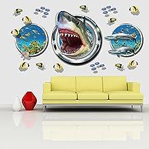 Ducklingup Halloween Horrible Home Decor 3D Aquarium Ocean Underwater Sea World Shark Fish Wall Window Hole Poster Wall Stickers Decal (B)