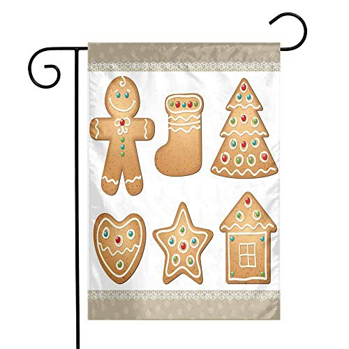 Gingerbread Man Garden Flag Cute Pastry Design Graphic Cookies in Different Shapes Tasty Sweet Goodies Premium Material W12 x L18 Multicolor ()