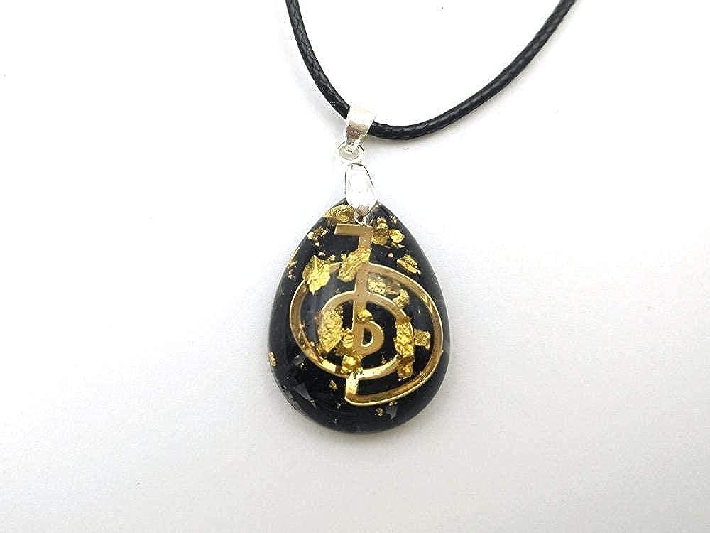 CAISHENY Colgante de orgonita en Forma de lágrima de turmalina Negra con símbolo Cho KU Rei - Talismán de imán de Dinero de meditación de Amor de Riqueza