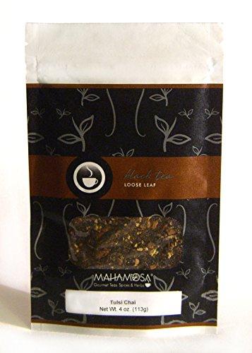 Mahamosa Tulsi Chai Tea 4 oz - Black Chai Tea Loose Leaf (Looseleaf) (with dried tulsi leaf (holy basil), ginger root, cinnamon chips, and ginger, cinnamon and vanilla flavor) by Mahamosa Gourmet Teas, Spices & Herbs