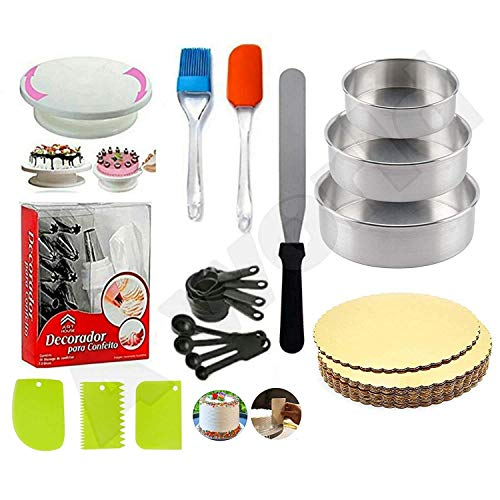 A deal Cake Making Supplies Cake Turntable, Nozzle Set, Measuring Cup & Spoon, Scraper, 3 in 1 Aluminium Round Cake Moulds, Stainless Steel Pallet Knife and 5 Piece Cake Base Board (Gold)