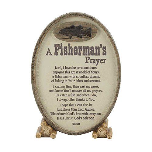 A Fisherman's Prayer Oval Shaped Brown 6 x 3.5 Resin Stone Table Top Sign Plaque -