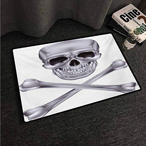 HCCJLCKS Fashion Door mat Grey Vivid Skull and Crossed Bones Dangerous Scary Dead Skeleton Evil Face Halloween Theme Super Absorbent mud W35 xL59 Dimgray ()