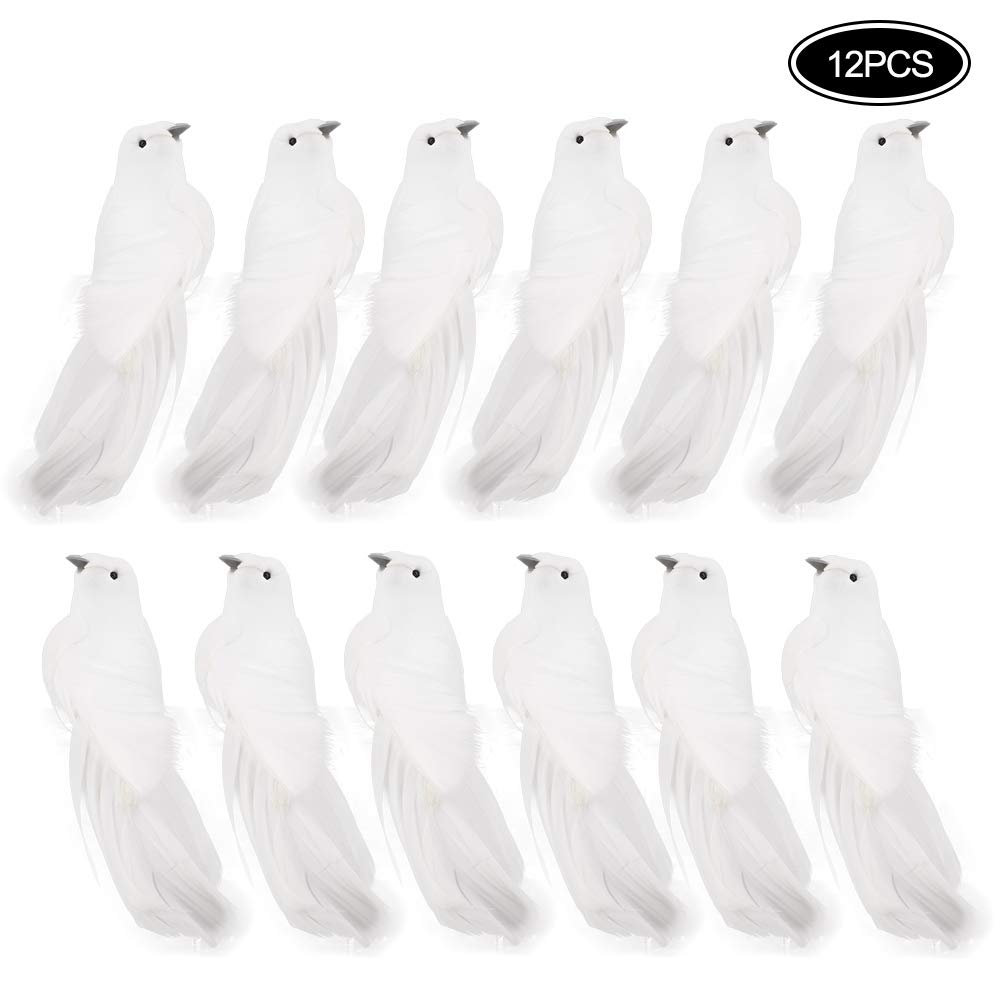 Uccellini Bianchi Ornamenti Natalizi per Matrimoni e Feste Uccello Artificiale Colomba con Piume Set di 12 Colombe finte LAMF con Clip