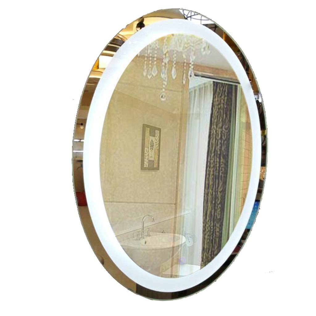 照明付き化粧鏡 化粧鏡、壁掛けミラー、バスルームミラー化粧台、つや消しエッジ、フレームレスミラーガラスパネル吊りミラー楕円形大型、寝室用リビングルーム装飾、シェービングミラーミラー 化粧鏡 (Edition : 50 (monochrome)) 50 (monochrome)  B07TZN4W95
