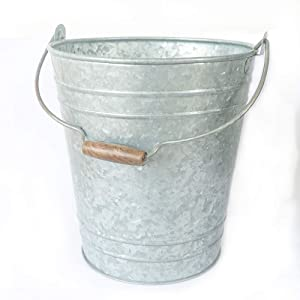 NIRMAN Rustic Galvanized Metal Waste Bin, Galvanized Metal Trash can for Office,Home,Rooms, Toilets,Adds Farmhouse Warmth.