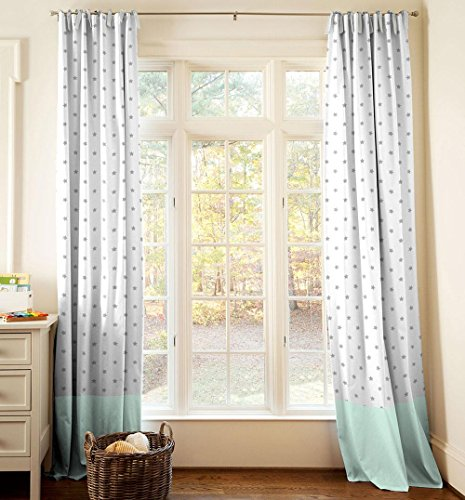 Carousel Designs Gray and Mint Stars Drape Panel 84-Inch Length Standard Lining 42-Inch Width by Carousel Designs