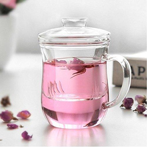 Otaku Tea 12 oz Cafe Style Tea Cup w/Lid and Tea Infuser, Perfect for Loose Leaf Tea...