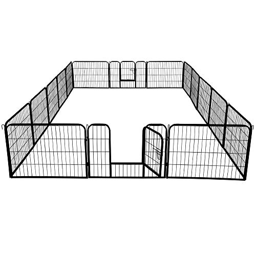 Topeakmart 24/32 Panels 32/40-inch Pet Dog Pen Heavy Duty Foldable Metal Portable Puppy Exercise Pen Barrier Cat Chicken…